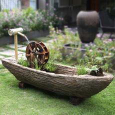 水磨坊风车石船流水摆件落地庭院花园喷泉景观民宿院内造景装饰
