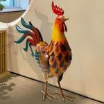 铁艺仿真公鸡摆件动物花园创意家居装饰户外阳台别墅庭院摆设