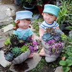 流水家园家庭园艺景观花盆 办公室盆景装饰 多肉种植花盆