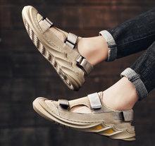网面凉鞋男2020夏季新款休闲透气沙滩鞋真皮软底防滑运动包头凉鞋