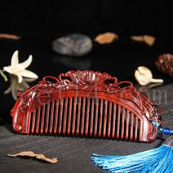 小叶紫檀牡丹梳子