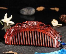 小叶紫檀牡丹梳子 红木花开富贵梳子 紫檀木梳 可定制刻字