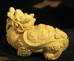 黄杨木龙龟茶宠 招财龙龟手把件 家居汽车小摆件 木雕文玩 可定制