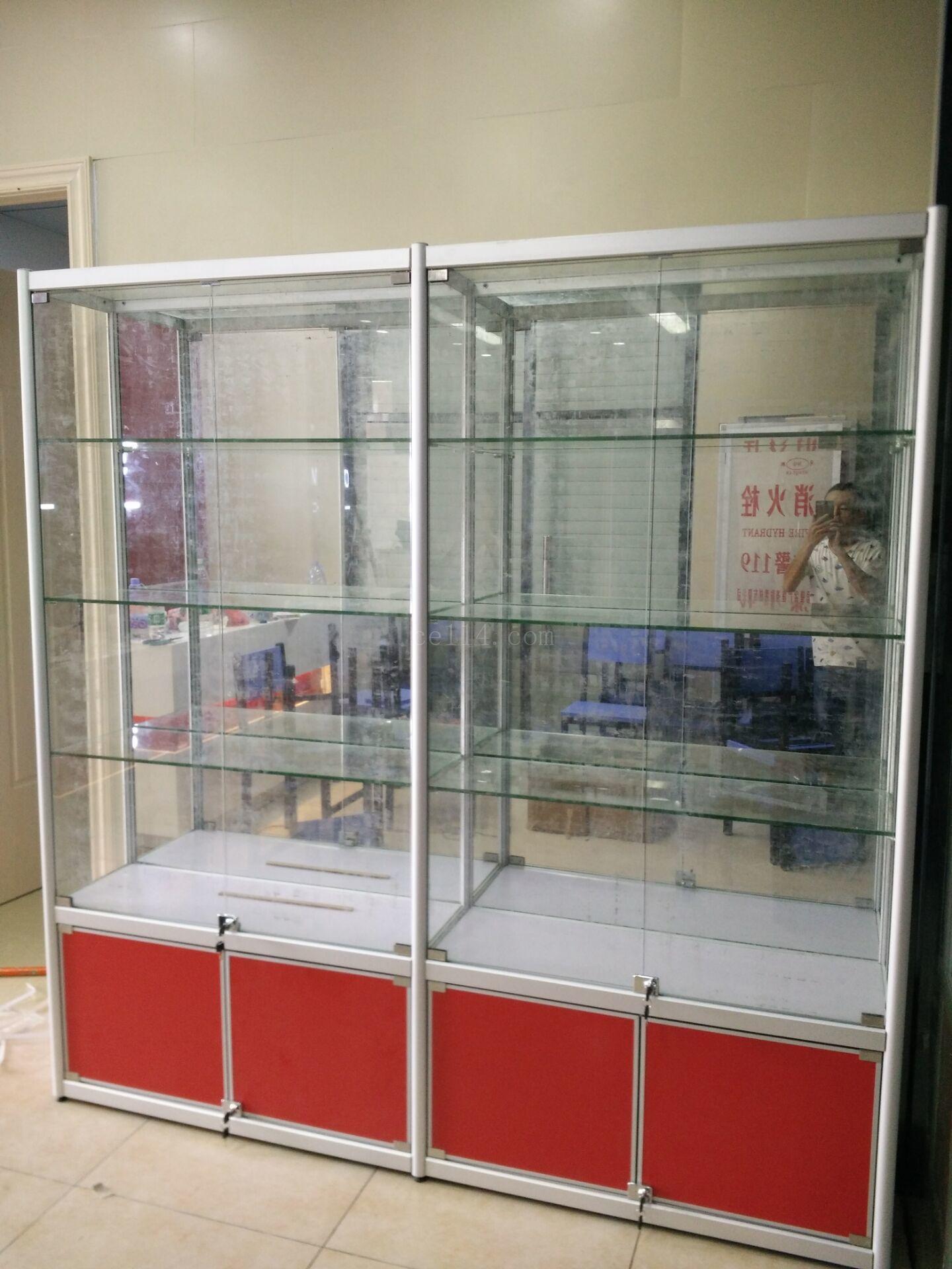 玻璃展示柜带锁门透明带灯