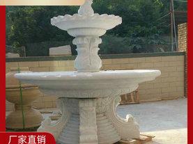 小区石雕喷泉 锈石水钵 园林水景喷泉雕塑