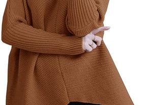 亚马逊热销毛衣女欧美高领长袖不对称下摆休闲针织套头衫上衣