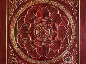 浮雕木纹描金莲花