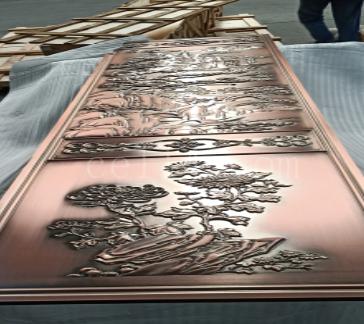 红古铜拉丝浮雕铝板